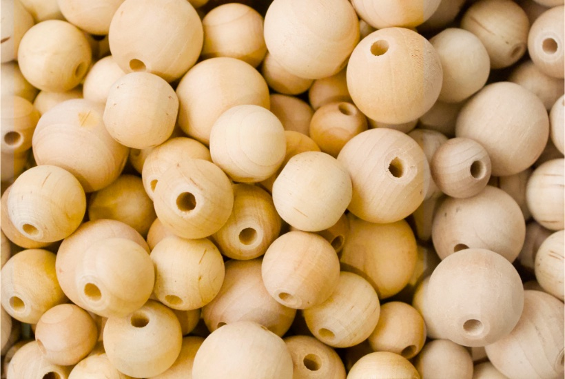Wood beads for garland