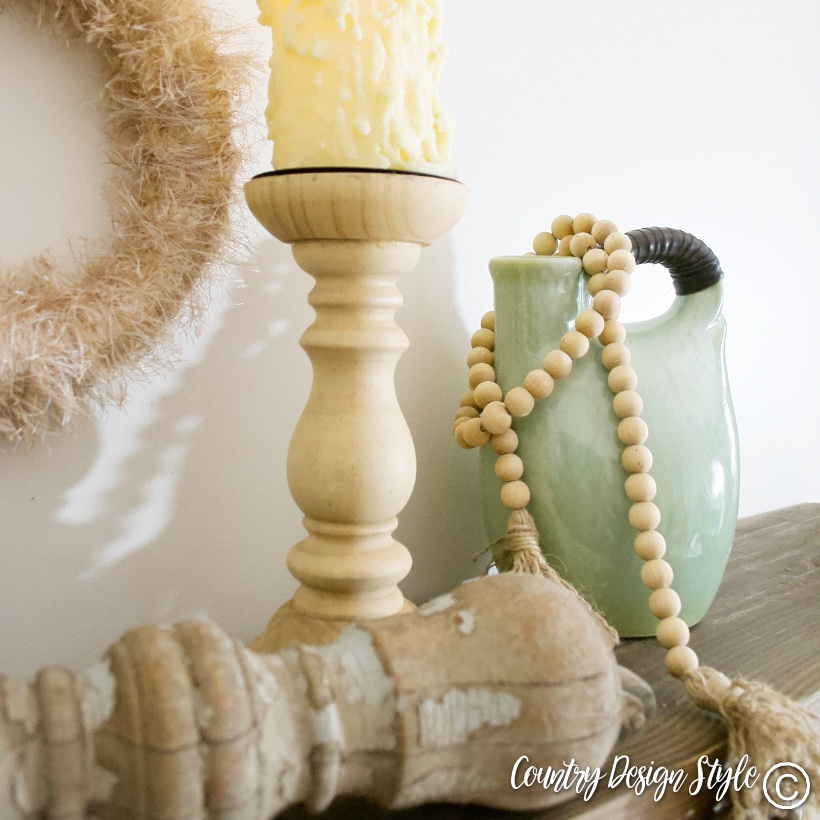 Wood garland, wreath, wood candleholder green vase and old spindle