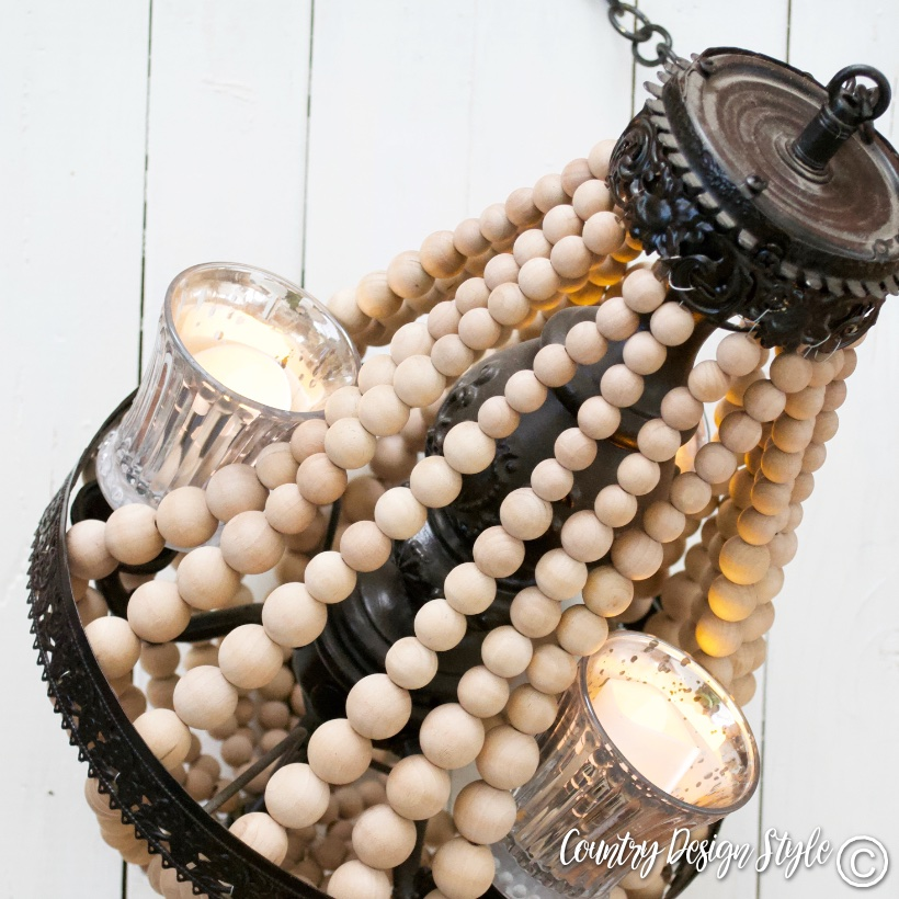 Wood beaded chandelier | Country Design Style | countrydesignstyle.com