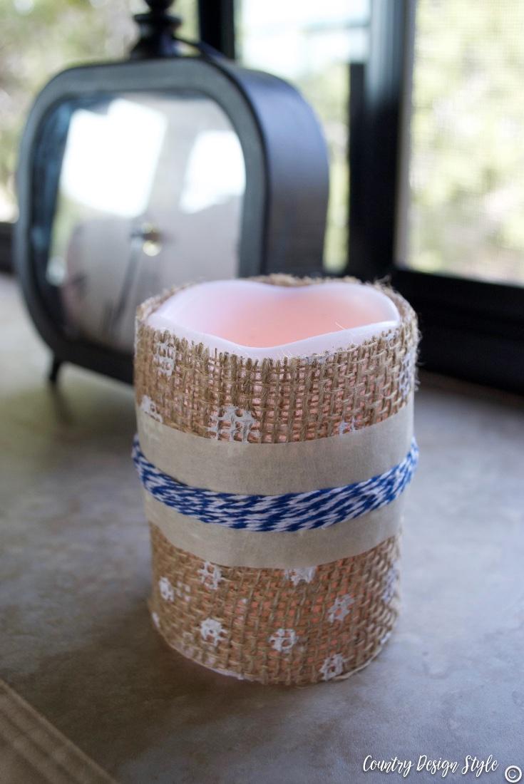 Adding farmhouse stye to a dollar store candle