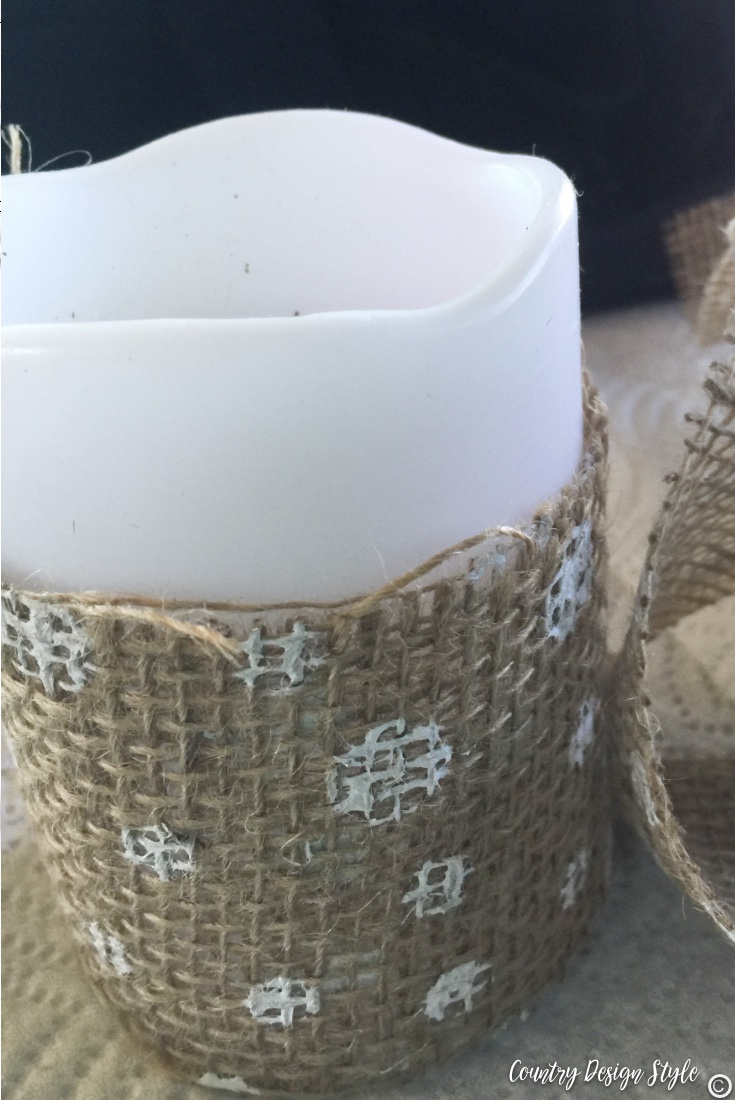 Dollar store candle and burlap ribbon | Country Design Style | countrydesignstyle.com
