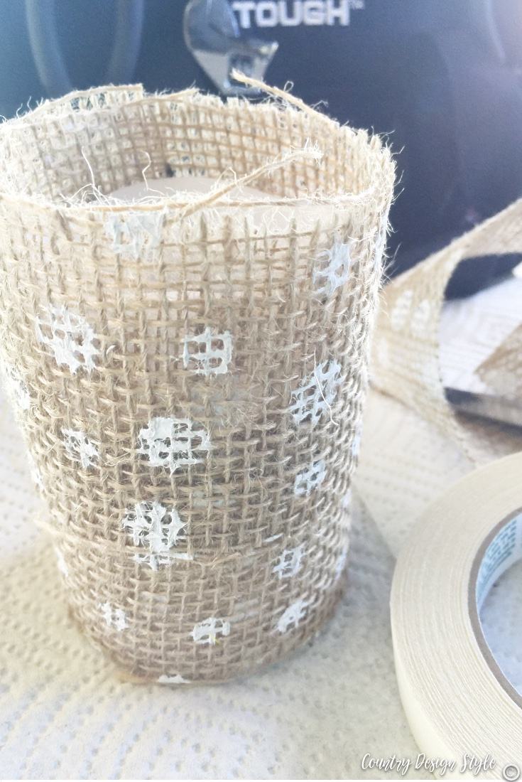 Dollar store candle and burlap ribbon doubled