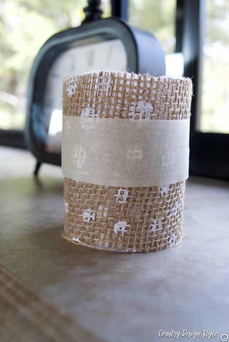 Dollar store candle and burlap ribbon masking tape