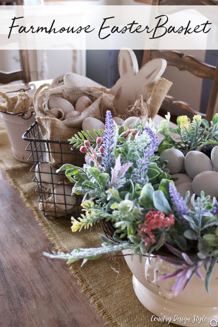 Easter display basket farmhouse style