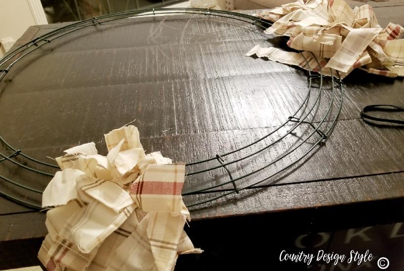 Rag wreath tutorial cutting the fabric