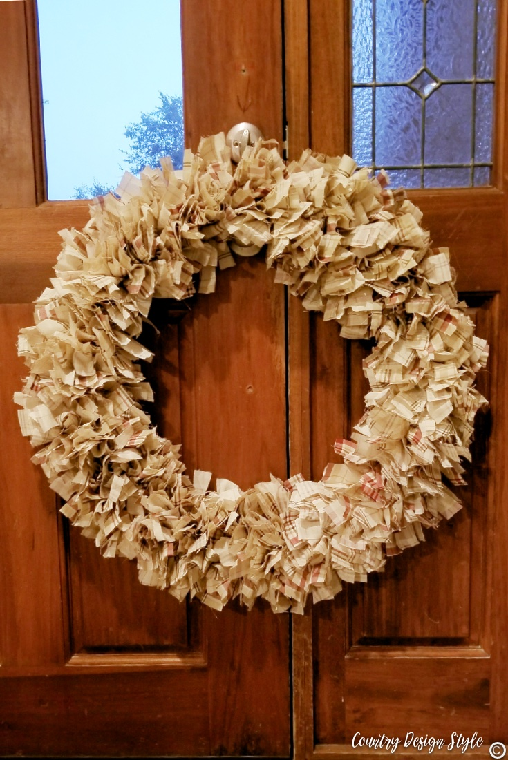 Rag wreath finished and hanging