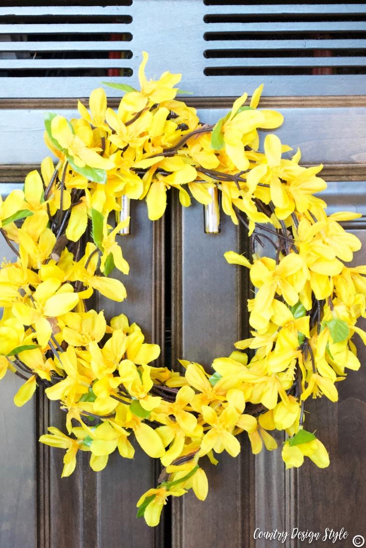 Spring wreath for front door finished inside