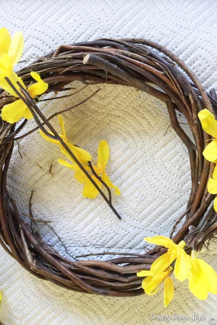 Spring wreath for front door wiring on florals
