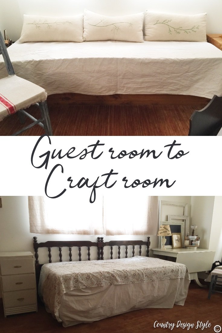 Craft room area for sleeping in daybed and window seat.