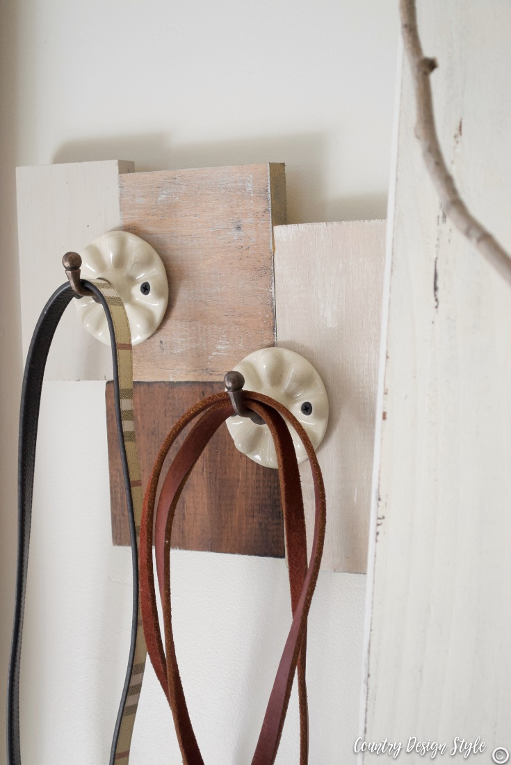 Using scrap wood to hang decorative hooks