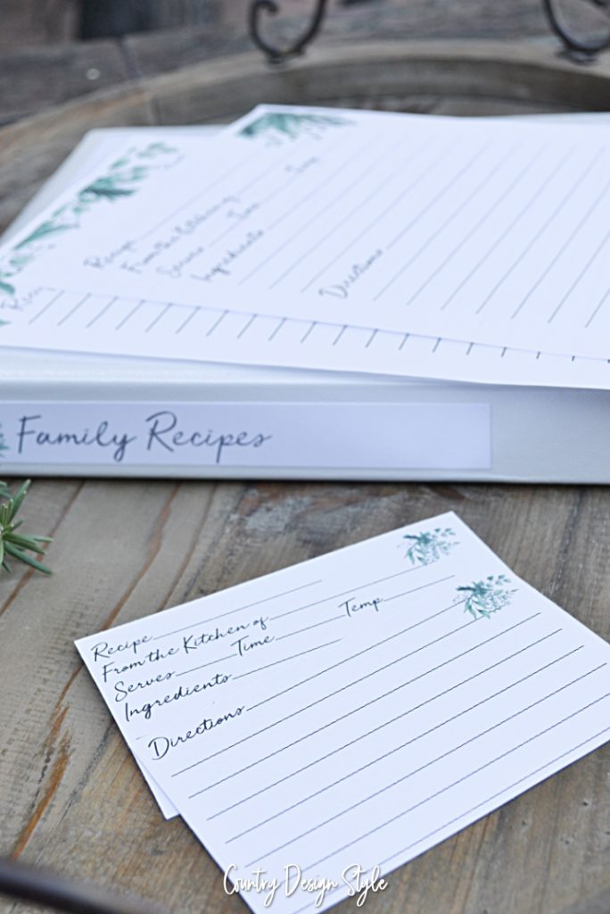 Recipe binder with recipe template cards