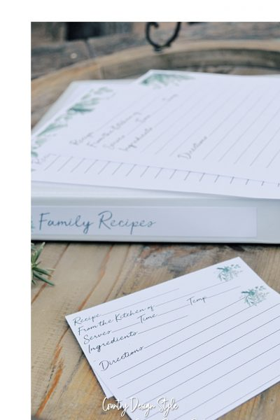 Recipe card templates printable
