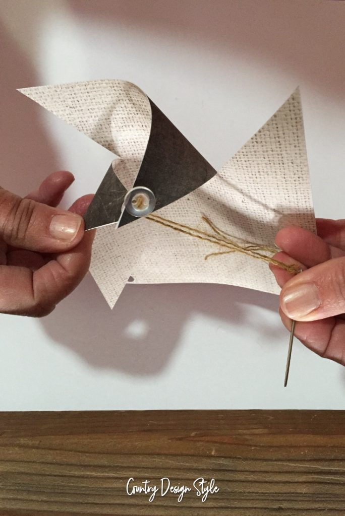Threading 2 Paper Pinwheel Ornaments