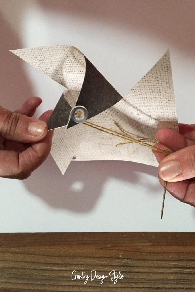 Threading 2 Paper Pinwheel Ornaments