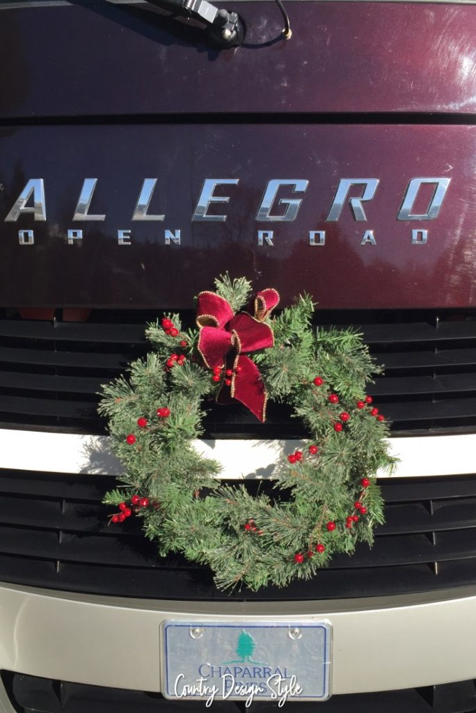 Tiny Christmas wreath on RV