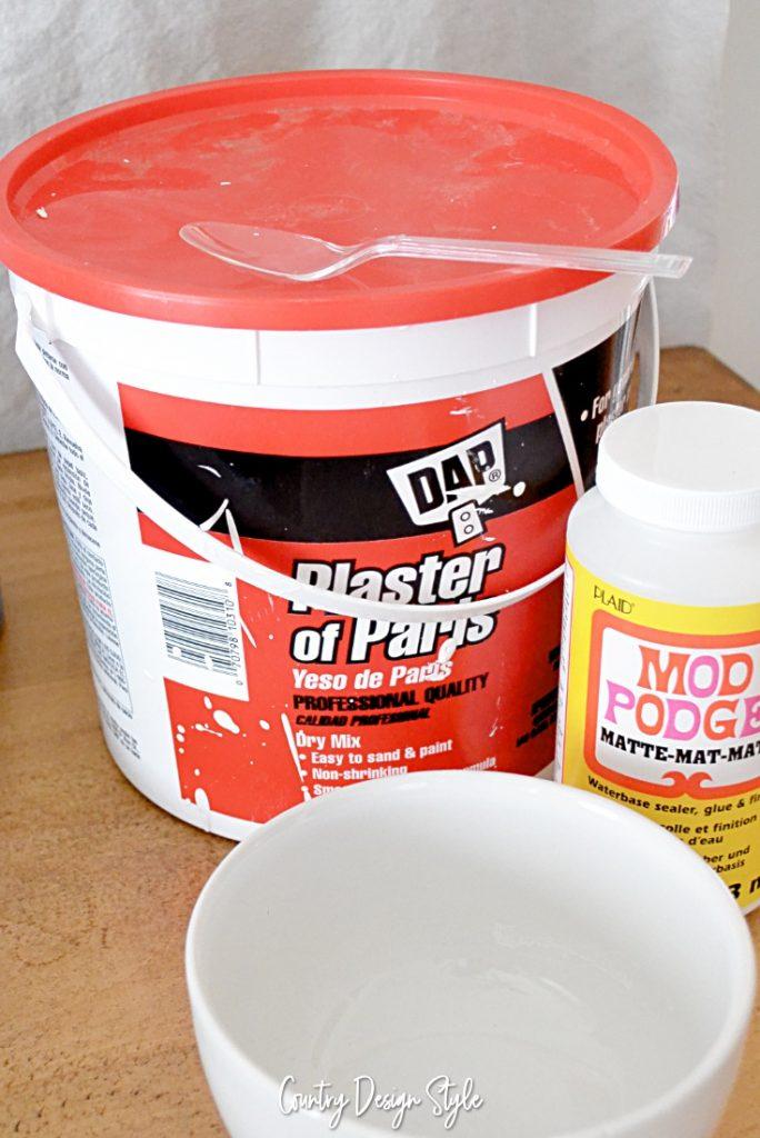 Gypsum plaster and mod podge