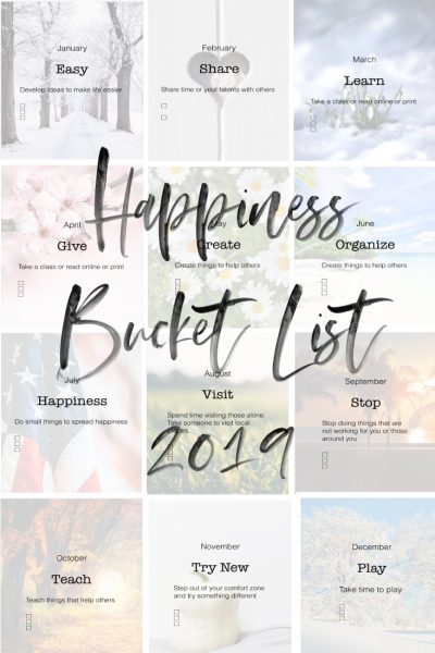 Happiness Bucket List 2019 printable
