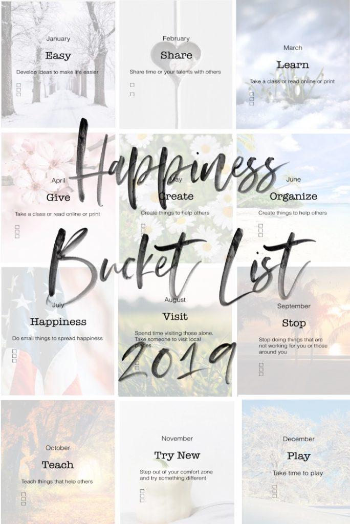 Happiness Bucket List 2019 printable