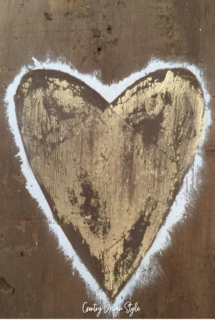 Too rough gold leaf and barn wood heart