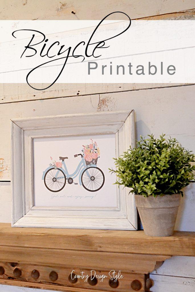 Bike Printable with flowers text