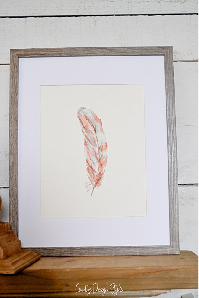 Framed watercolor feather
