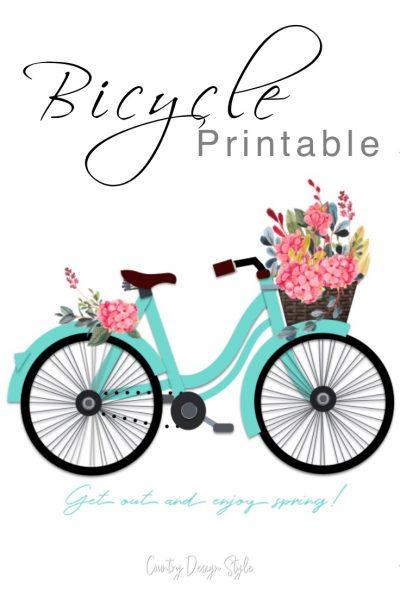 bicycle printable | frame worthy | bike printable with flowers | turquoise bicycle printable