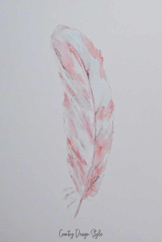 feather on white watercolor paper