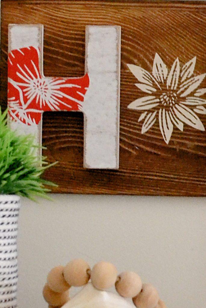 Close up of DIY home sign