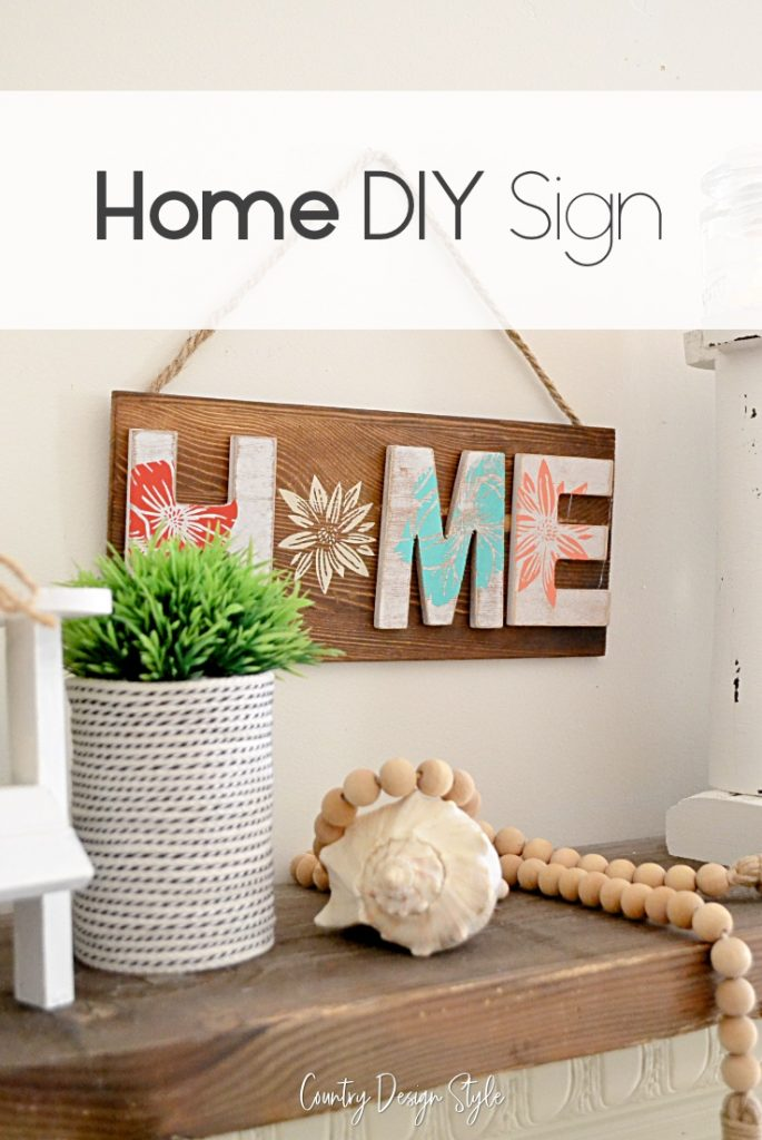 Home sign complete with floral transfers done