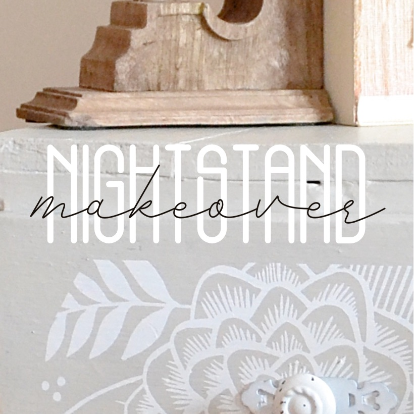 Finished floral painting on nightstand makeover