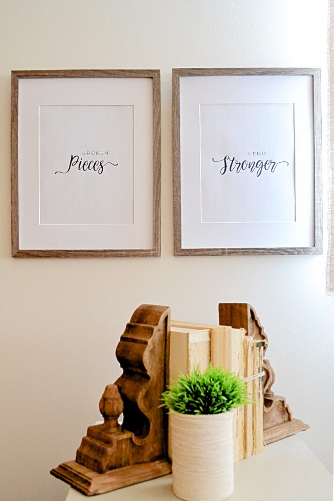 two frames with printables in modern farmhouse text
