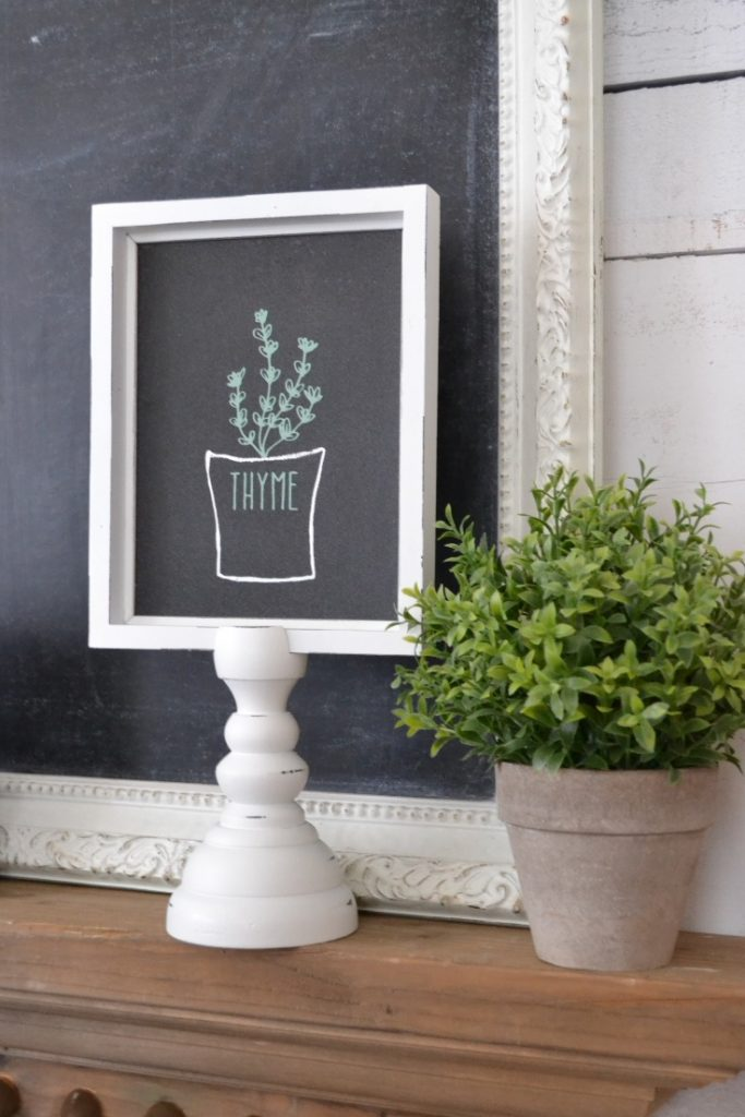 A chalkboard sign on a pillar with herb thyme.