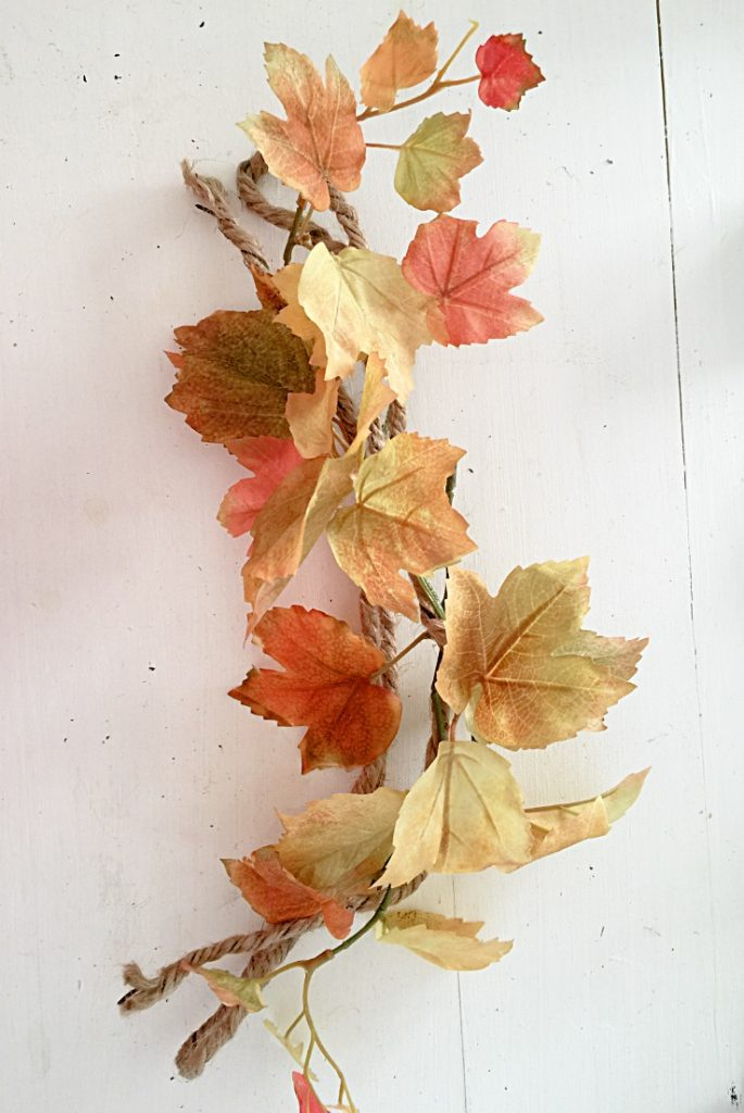 Leaves wrapped around twine with wire to add shape.