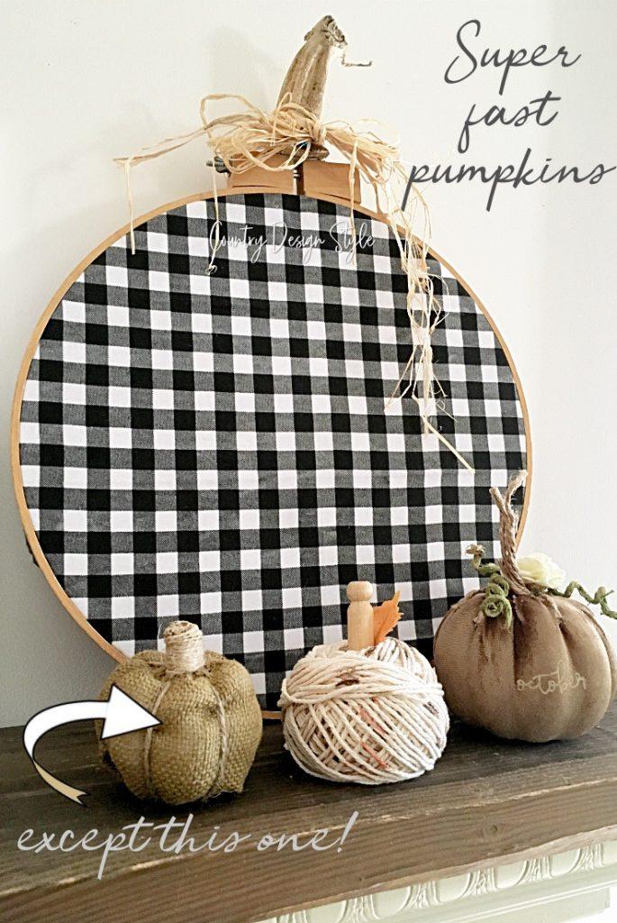 buffalo check, burlap, velvet, and yarn pumpkins
