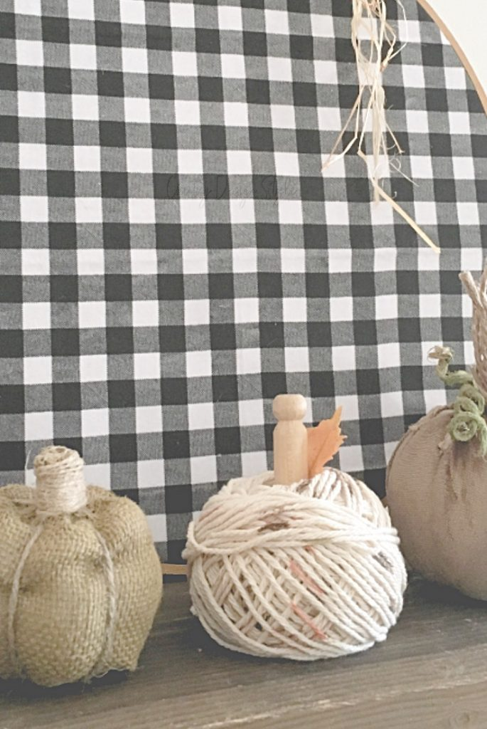 buffalo check, burlap, yarn, velveteen pumpkins