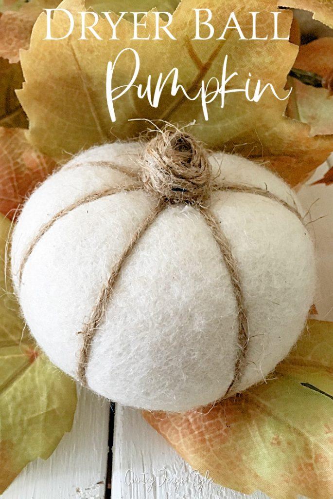 pumpkin with dryer ball text