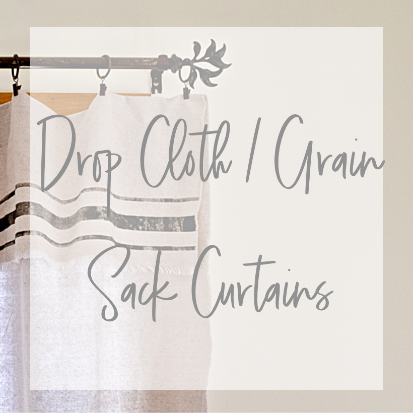 square image of drop cloth curtains with text overlay