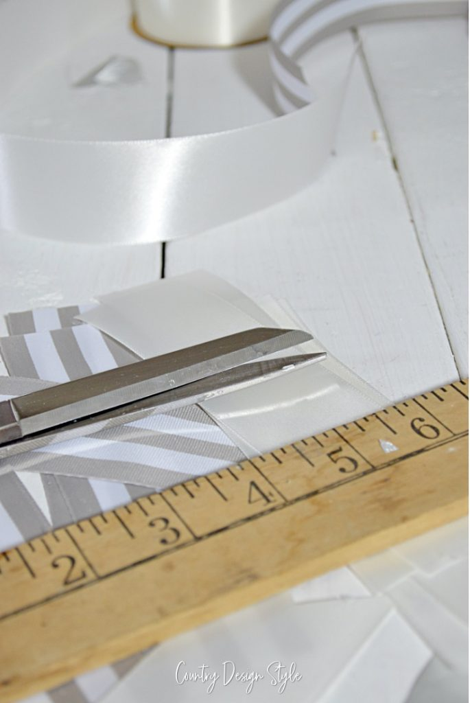 Measuring piece of ribbon to 6 inches