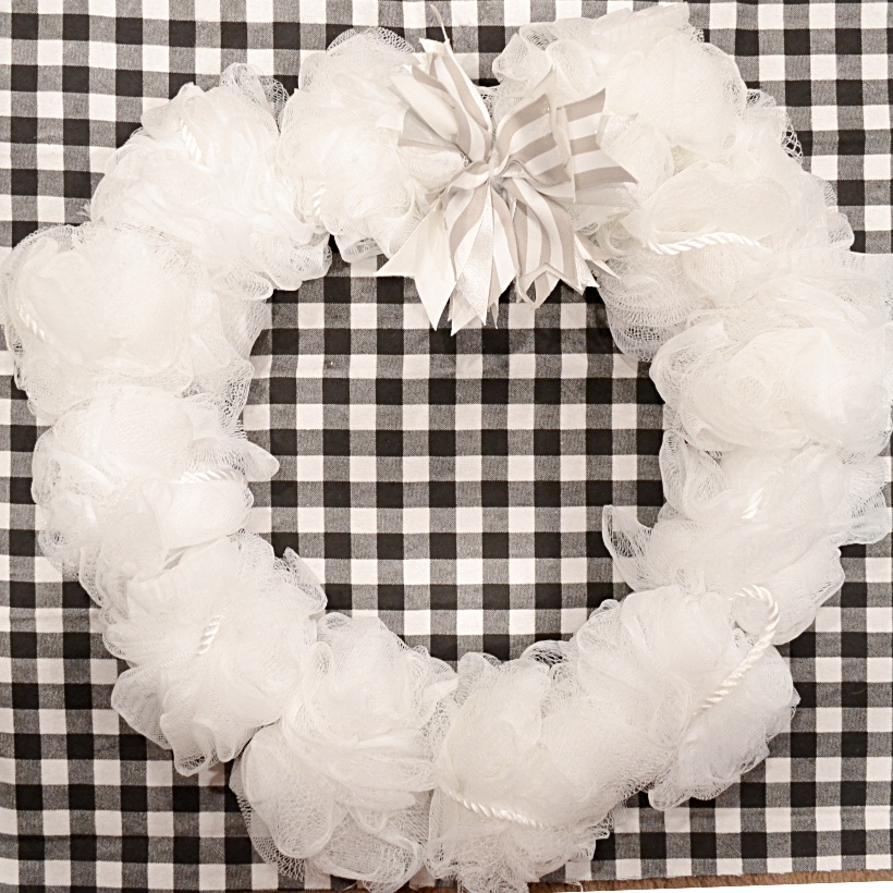 square image of winter white wreath on wire frame
