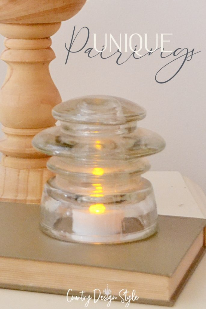 Unique pairing of battery candles and telephone insulators