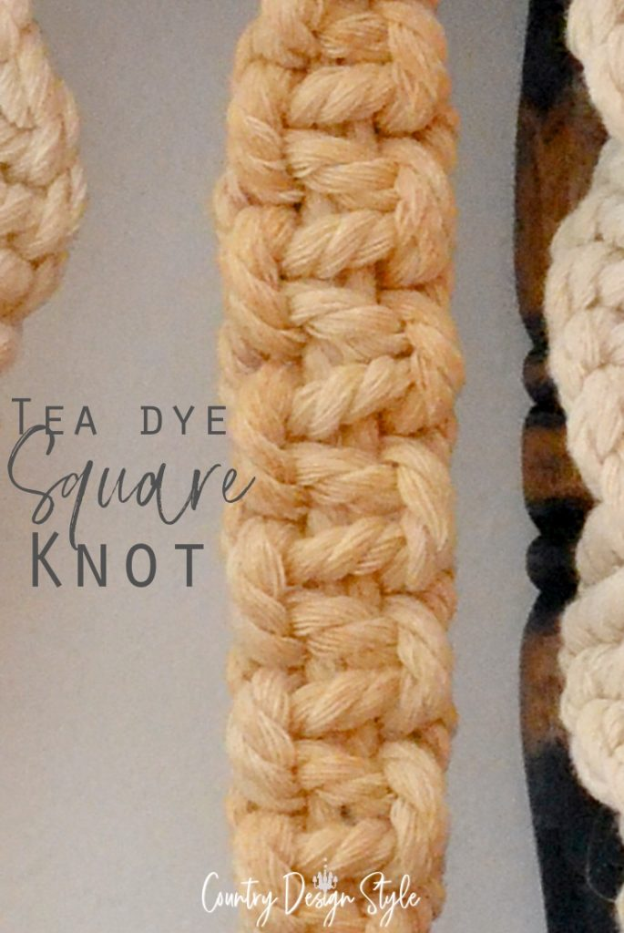 the square knot with tea dye