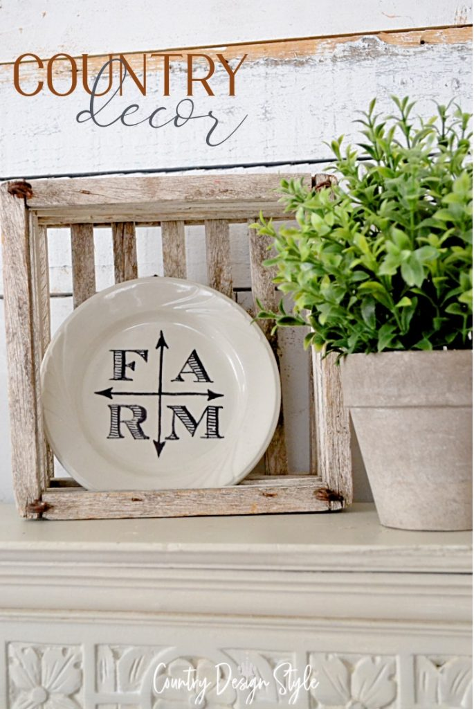 country decor plate in wooden crate