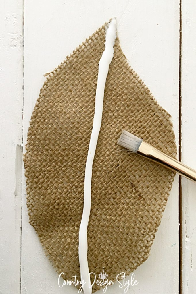 glue on burlap craft feather