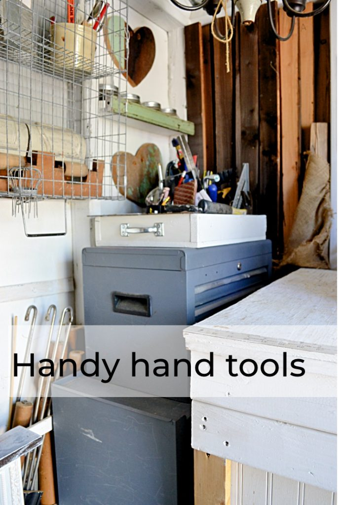Hand tools in crate