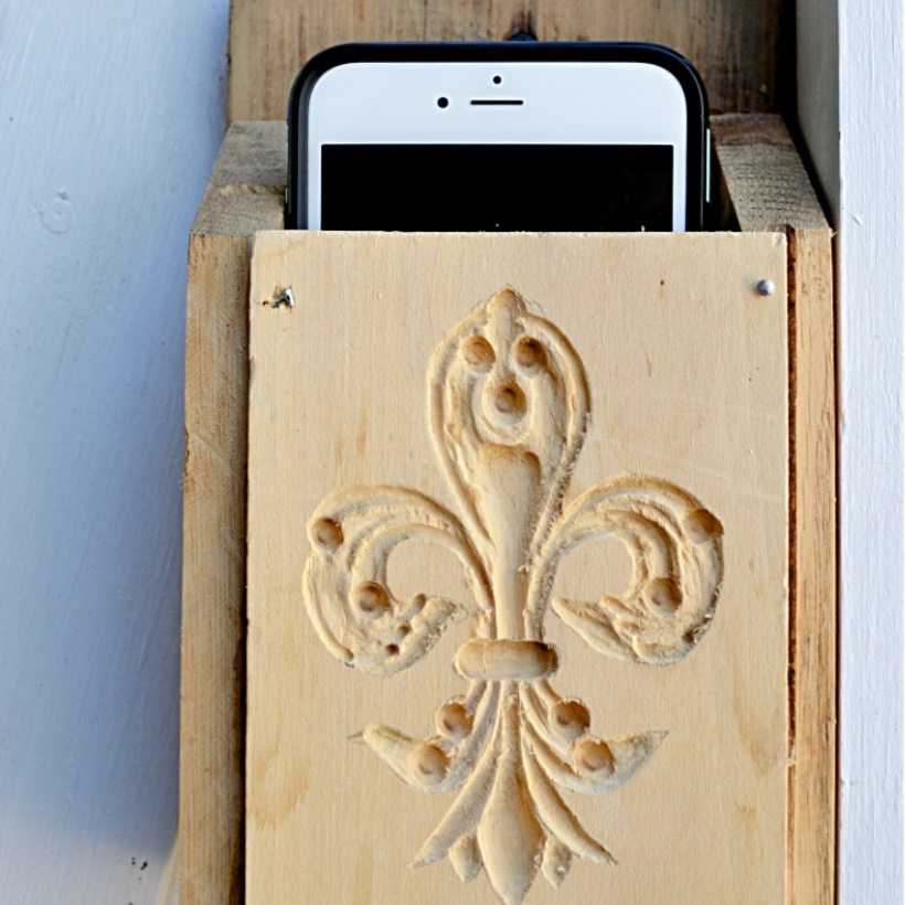 iphone in wood holder