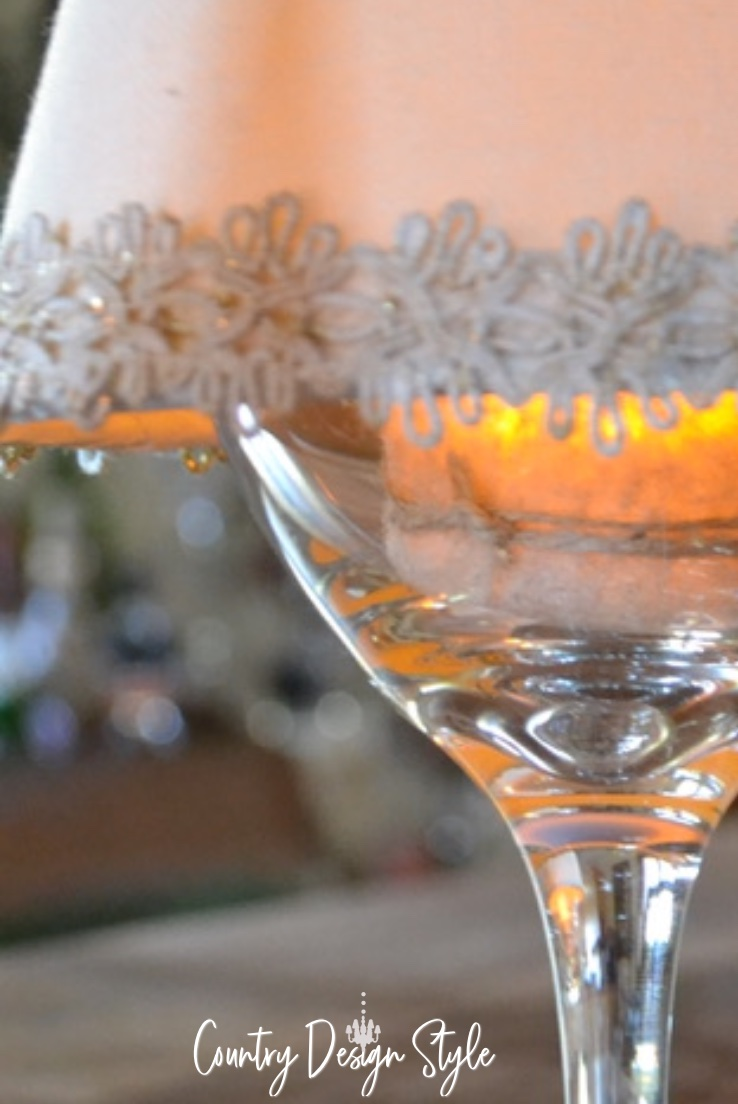close up of wine glass with shade and candle
