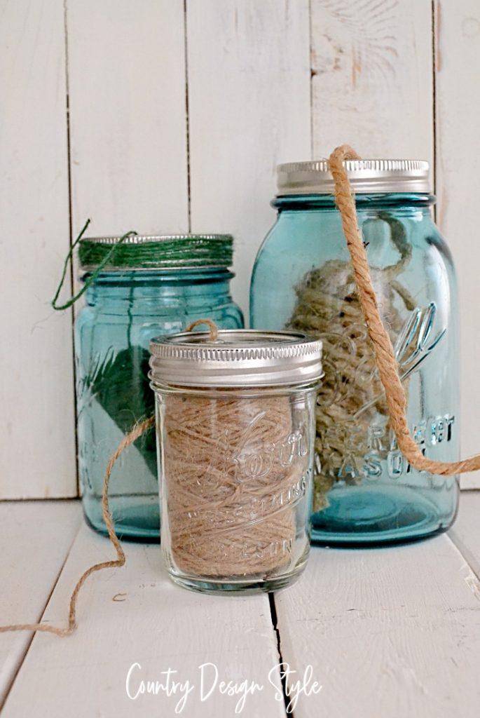 3 mason jar twine holders