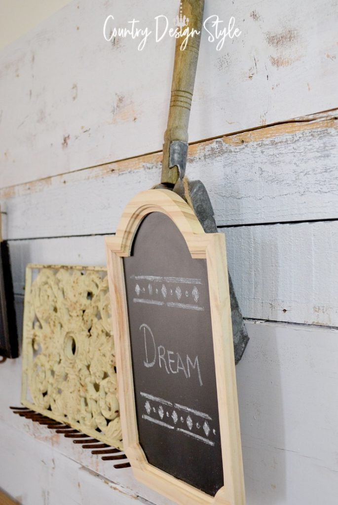 shovel with chalkboard